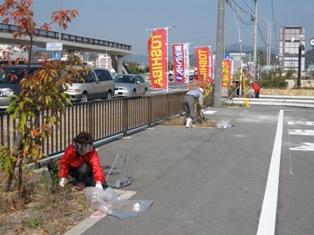 宇野港の桜公園・桜の並木道の清掃